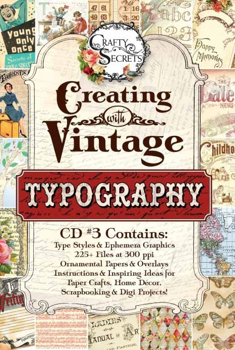 Vicki Crafty Secrets Vintage Typography CD